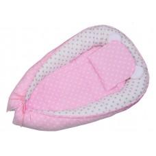 Kokon  niemowlęcy  80 X 50  różowe groszki