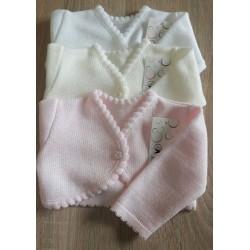 Sweterek bolerko gładkie różowe