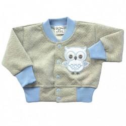 Bluza niemowlęca sówka szara z niebieskim