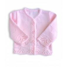 Sweterek ażurkowy rozpinany  różowy