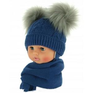 Czapeczka zimowa niemowlęca 38-40 granatowa