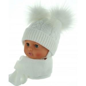 Czapeczka zimowa niemowlęca 38-40 biała