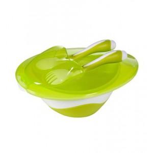 Miseczka z łyżeczka i widelcem zielona