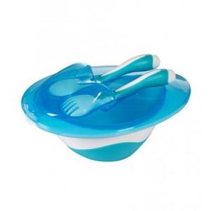 Miseczka z łyżeczka i widelcem niebieska