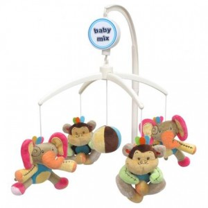 Karuzela z pozytywką słonie z małpkami