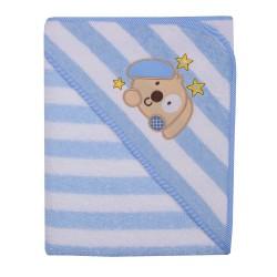 Ręcznik Okrycie kąpielowe 100 x 100 z haftem w paseczki niebieskie