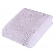Gruby tłoczony koc akrylowy 80 x 110 zimowy biały