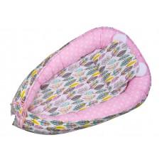 Kokon niemowlęcy 80 x 50  szaro różowe pióra