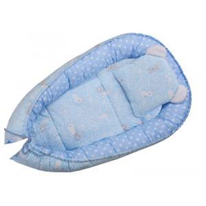 Kokon niemowlęcy 80 x 50  niebieski z króliczkami
