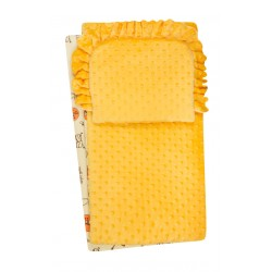 Komplet do wózka  kocyk  kołderka z poduszką żółty w zeberki