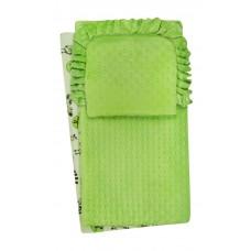 Komplet do wózka  kocyk  kołderka z poduszką zielone  zeberki