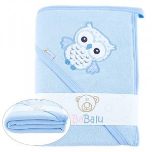 Ręcznik okrycie kąpielowe Sówka 100 x 100  niebieskie
