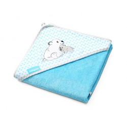 Okrycie kąpielowe bambusowe - ręcznik z kapturkiem 76x76 niebieskie