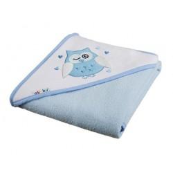 Ręcznik okrycie kąpielowe z kapturkiem 80 x 80 cm niebieskie