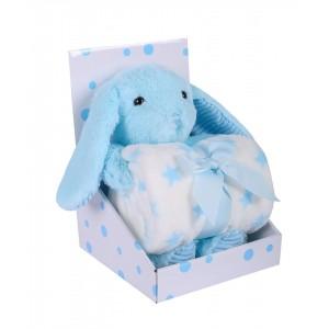 Zestaw upominkowy Zabawka  zajączek  niebieski + kocyk