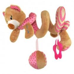 Przywieszka z zabawkami  spiralka miś różowy