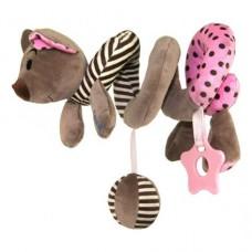 Przywieszka z zabawkami  spiralka myszka różowa