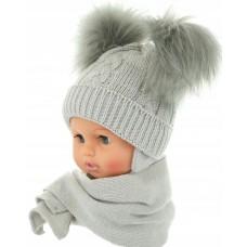 Czapeczka zimowa niemowlęca 38-40 szara