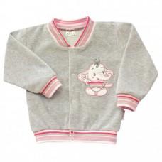 Bluza welurowa  słonik   szara z różowym