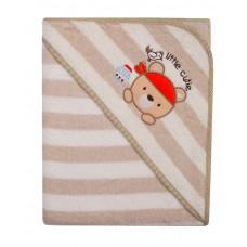 Ręcznik Okrycie kąpielowe 100 x 100 z haftem w paseczki beżowe