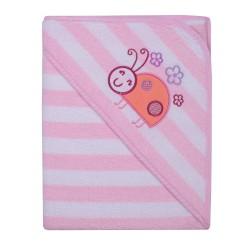 Ręcznik Okrycie kąpielowe 100 x 100 z haftem w paseczki różowe