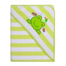 Ręcznik Okrycie kąpielowe 100 x 100 z haftem w paseczki zielone