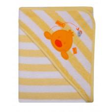 Ręcznik Okrycie kąpielowe 100 x 100 z haftem w paseczki żółte