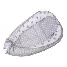 Kokon niemowlęcy 80 x 50  białe  groszki na szarym tle z szarymi gwiazdkami