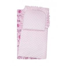 Komplet do wózka  kocyk  kołderka z poduszką różowy w zeberki