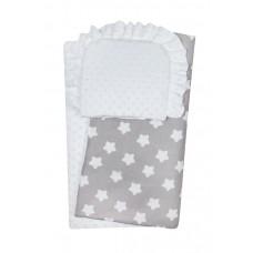 Komplet do wózka  kocyk  kołderka z poduszką biały z  szarym w białe  gwiazdki