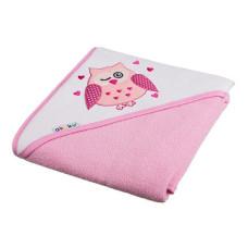 Ręcznik okrycie kąpielowe z kapturkiem 100 x 100  cm różowe