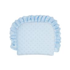 Poduszka minky z falbanką niebieska