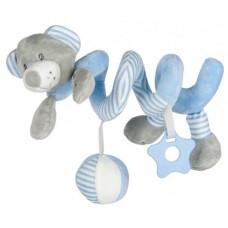 Przywieszka z zabawkami  spiralka miś niebieski
