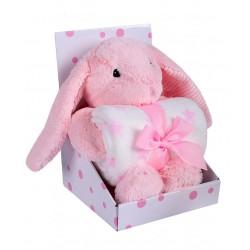 Zestaw upominkowy Zabawka  zajączek  różowy + kocyk