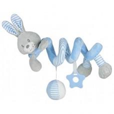 Przywieszka z zabawkami  spiralka królik niebieski