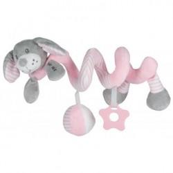 Przywieszka z zabawkami  spiralka piesek różowy