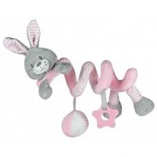 Przywieszka z zabawkami  spiralka królik różowy